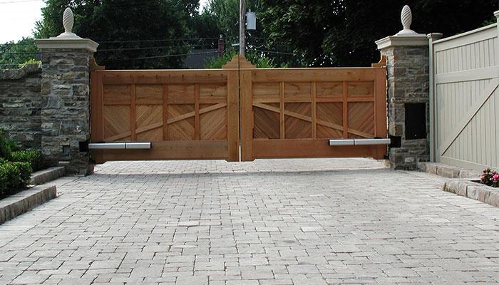 wooden swing gate in masonry columns on the Bridlepath