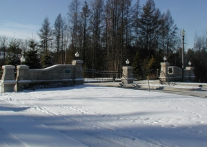 Slide Gate with Masonry Columns for Gated Community