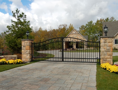 Swing Gate w/Masonry Columns for Estate Home